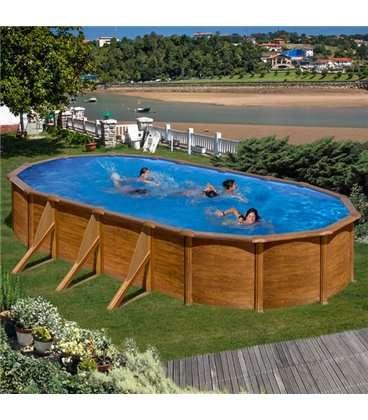 Piscina GRE serie Pacific ovalada imitación madera 610 x 375 x 120 cm. KIT610W