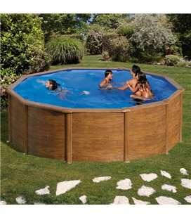 Piscina GRE serie Pacific redonda imitación madera Ø 460 x 120 cm. KIT460W