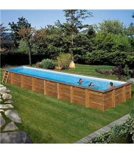 Piscina elevada madera rectangular Cardamon 1200 x 400 x 146 cm Gre. 788033