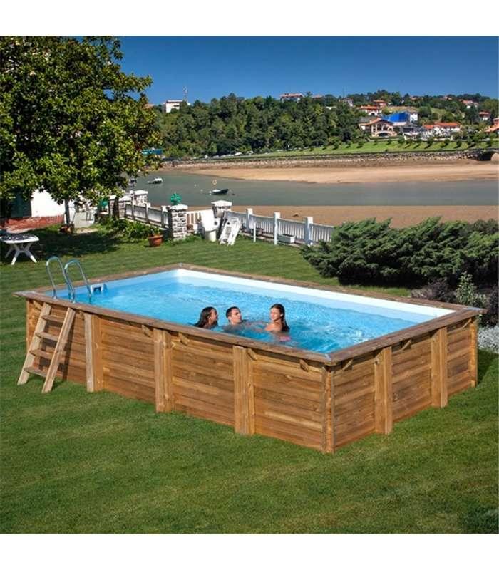 piscina elevada de madera rectangular evora 600x400x133 cm