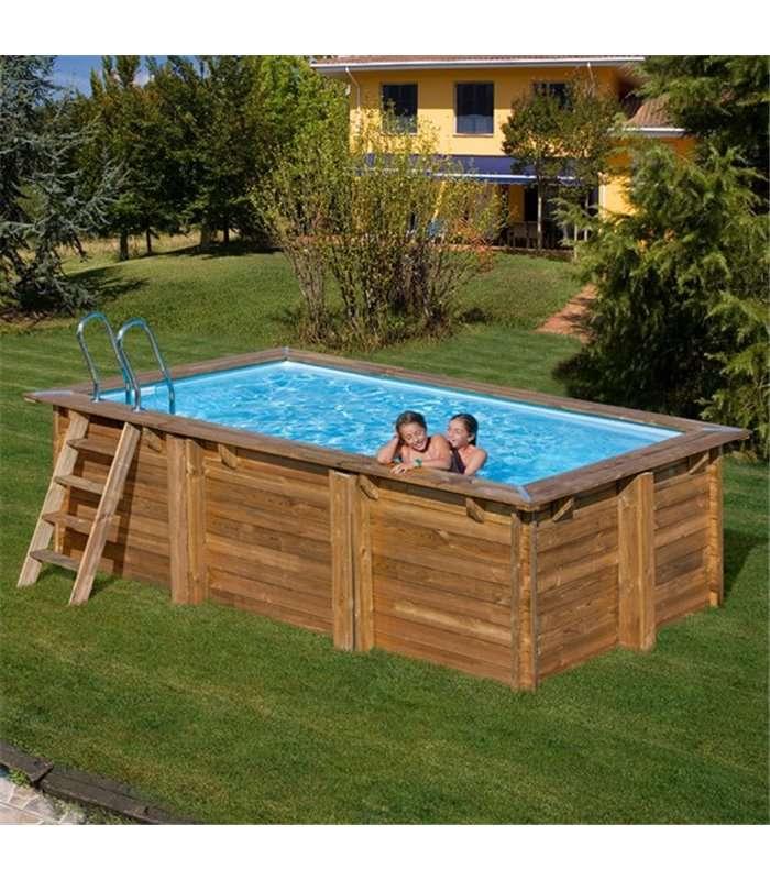 Piscina elevada de madera rectangular marbella 400 x 250 x for Piscina madera rectangular