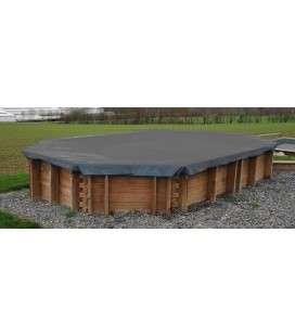 Cubierta de invierno piscina madera ovalada 521 x 422 Gre. 779531