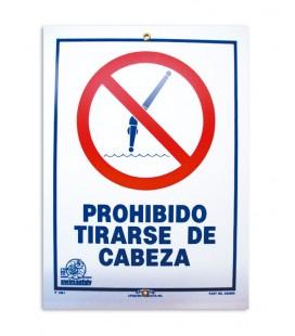 Cartel seguridad PROHIBIDO TIRARSE DE CABEZA. 100693