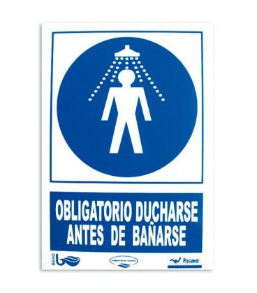 Cartel seguridad OBLIGATORIO DUCHARSE ANTES DE BAÑARSE. 101168