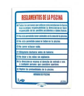 Cartel seguridad REGLAMENTOS PISCINA. 100696