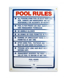 Cartel seguridad inglés POOL RULES. 100709