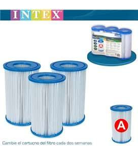 Pack 3 cartuchos filtro tipo A Intex. 56902