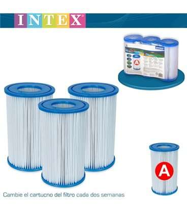 Pack 3 cartuchos filtro tipo A Intex. 56902