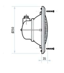 Conjunto aro embellecedor, juntas, prensaestopas y tornillería foco standard Astralpool. 07834